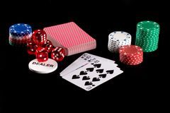Poker chips and playing cards Royalty Free Stock Photos