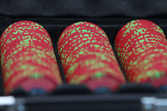 Poker chips and playing cards. Close up on poker chips and playing cards Stock Photos