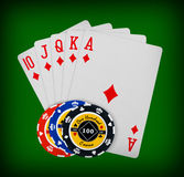 Poker chips Playing cards Royalty Free Stock Photos