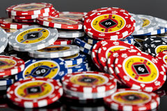 Poker chips Playing cards Stock Images