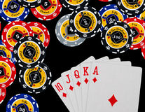 Poker chips Playing cards Stock Photography