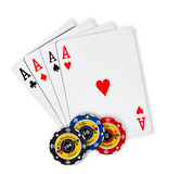 Poker chips Playing cards Royalty Free Stock Images