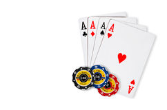 Poker chips Playing cards Stock Photo