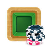 Poker chips and playing table isolated Royalty Free Stock Images