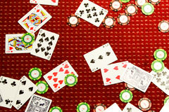 Poker chips and poker cards Royalty Free Stock Photos