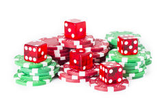 Poker chips and red casino dice Royalty Free Stock Image