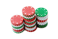 Poker chips & roulette. Royalty Free Stock Images