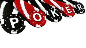 Poker Chips Rows. Poker sign on black and red colored chips. Isolated on white background Royalty Free Stock Image