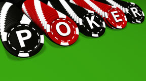 Poker Chips Rows On Green. Poker sign on black and red colored chips. Green background Stock Photos