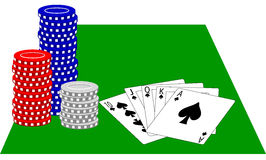 Poker Chips and Royal Flush/ai Stock Photo