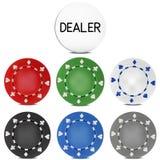 Poker Chips Set mit Händler-Knopf Auch im corel abgehobenen Betrag Lizenzfreie Stockfotografie