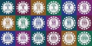 Poker chips set white on color.  Royalty Free Stock Image