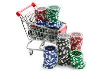 Poker chips in shopping cart. On white background Stock Images