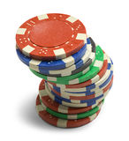 Poker Chips. Single Stack of Poker Chips Isolated on a White Background Stock Image