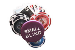 Poker chips with small blind Stock Photography