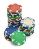 Poker Chips Stack. Stack of Poker Chips with Copy Space Isolated on a White Background Royalty Free Stock Image