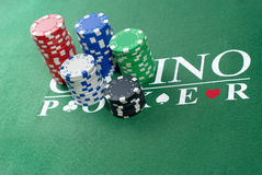 Poker Chips Stacked Stock Photography
