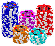 Poker Chips (Stacked) Stock Image