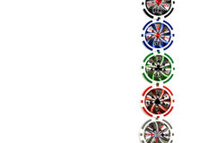 Poker chips stacked in a line Royalty Free Stock Photos