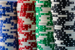 Poker Chips Stacked Stock Images