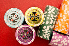 Poker chips stacks Stock Photos