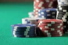 Poker chips stacks Royalty Free Stock Images