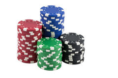 Poker Chips. Stacks of Poker Chips and Casino chips isolated Royalty Free Stock Image