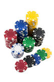 Poker Chips. Stacks of Poker Chips and Casino chips isolated Royalty Free Stock Photography