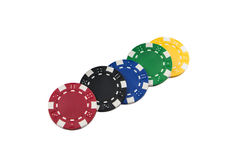 Poker Chips. Stacks of Poker Chips and Casino chips isolated Royalty Free Stock Photos