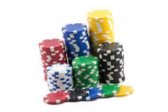 Poker Chips. Stacks of Poker Chips and Casino chips isolated Stock Image