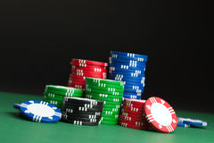 Poker chips. Stacks of poker chips on the table Stock Images