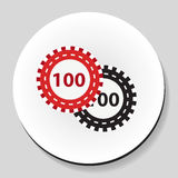 .Poker chips sticker icon flat style. Vector illustration. Royalty Free Stock Images