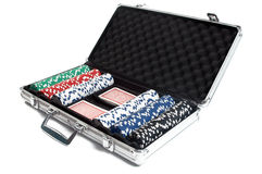 Poker chips in a suitcase Stock Photos