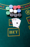 Poker chips on a table at the casino royalty free stock photos