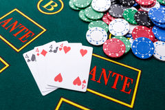 Poker chips on a  table at the casino Royalty Free Stock Images