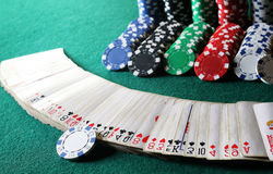 Poker chips on the table Royalty Free Stock Image