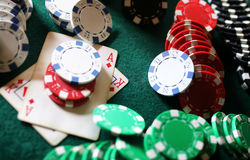 Poker chips on the table Royalty Free Stock Photos