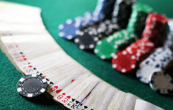 Poker chips on the table Stock Photography