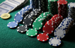 Poker chips on the table Royalty Free Stock Photography