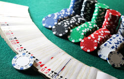 Poker chips on the table Stock Images