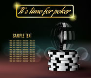 Poker chips with a twisting chip on blurred. Background Royalty Free Stock Image