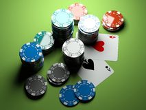 Poker chips with two aces royalty free stock photos