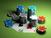 Poker chips with two aces royalty free stock images