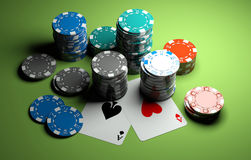 Poker chips with two aces royalty free stock photo