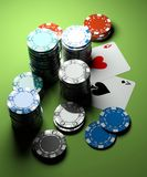 Poker chips with two aces stock photos