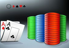 Poker chips and two aces Royalty Free Stock Photo