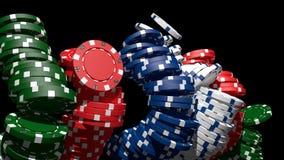Poker chips V03. 3D poker chips black background gambling casino Stock Images