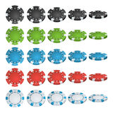 Poker Chips Vector. 3D Realistic Set. Colored Poker Game Chips Sign  On White Background. Flip Different Angles Stock Photos