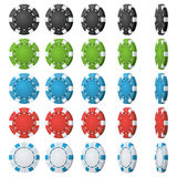Poker Chips Vector Flip Different Angles Gesetzter Klassiker farbiger Poker Chips Icon On White Weiß, rot, Schwarzes Stockfoto