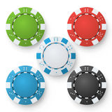 Poker Chips Vector. Set Classic Colored Poker Chips  On White. Red, Black, Blue, Green Casino Chips Illustration Royalty Free Stock Images